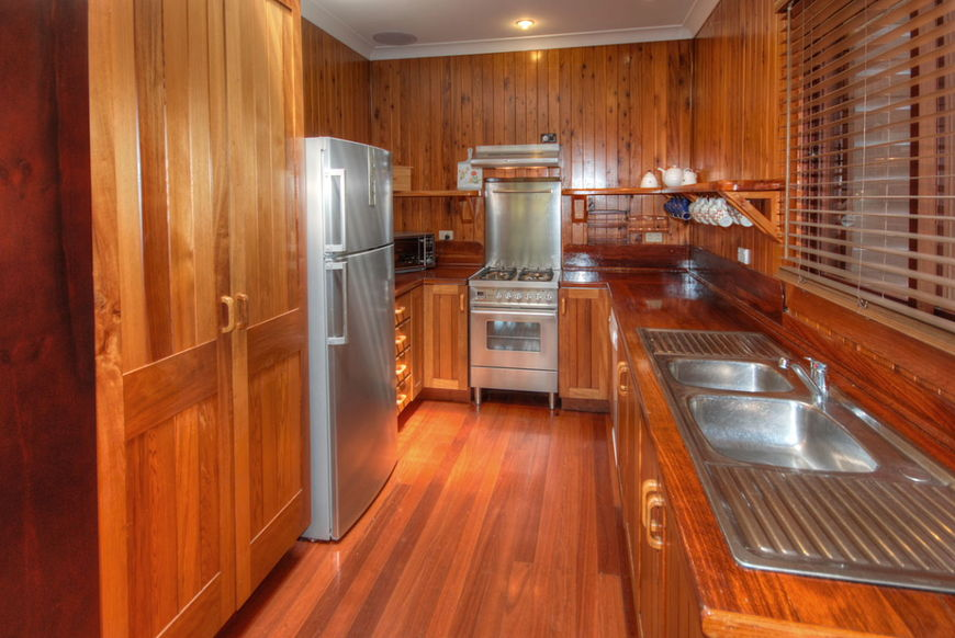 Kitchen with stainless steel cooker