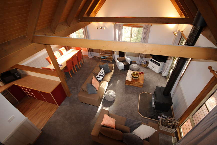 View to living spaces from upstairs