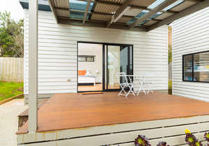 Studio deck with outdoor furniture