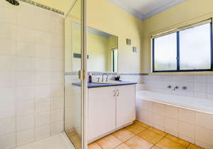Main bathroom with spa bath...