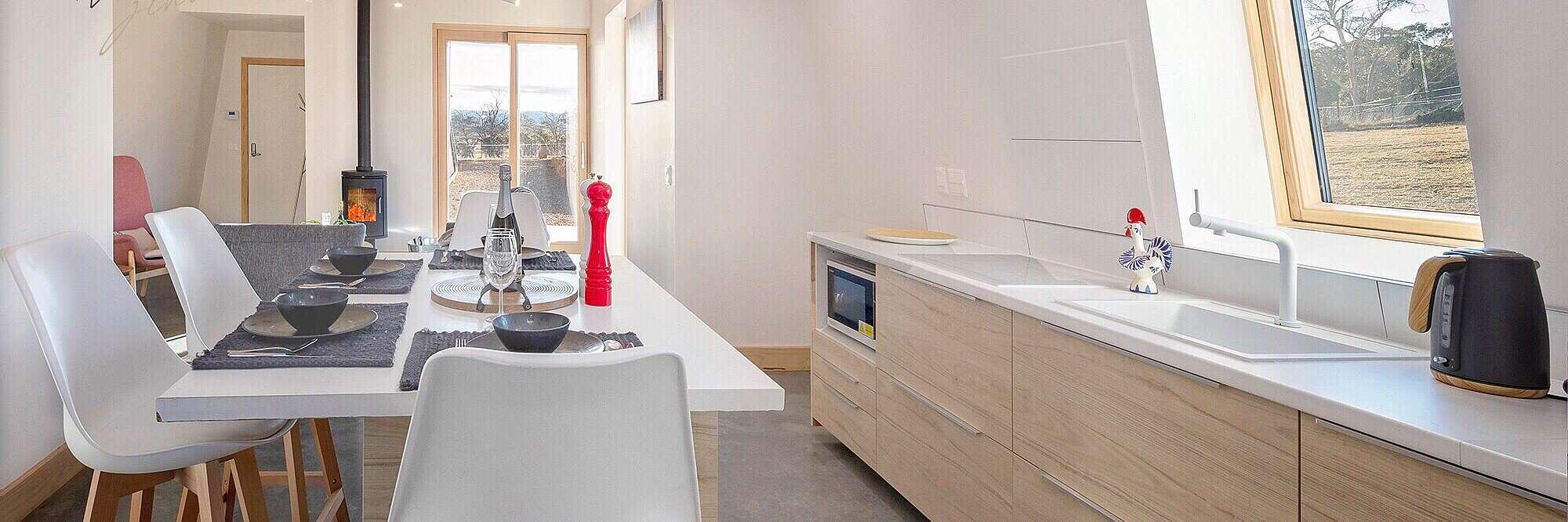 Modern kitchen dinning.