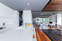 Modern kitchen with amazing ocean views, open plan to living and dining area